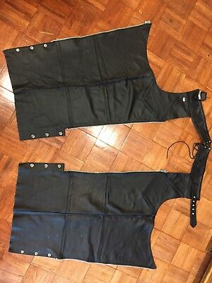 Black Leather Harley Davidson Motorcycle Chaps Size S