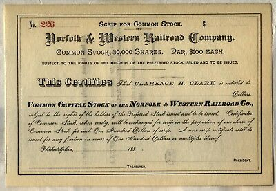 Norfolk and Western Railway /> Virginia stock certificate N/&W Southern share