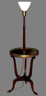 1940s Mahogany Floor Lamp with Brass-Rimmed Table & Cabriole Legs