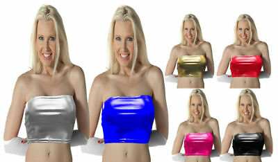 Boob Tube Top Shiny Wet Look RED Lycra Strapless BANDEAU Club Party Womens X007