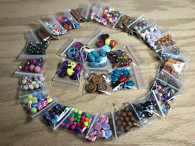 Large Lot Of Mixed Acrylic Beads Jewelry Making Supplies & Crafts 30 Bags #C04