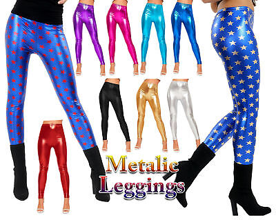Womens Wet Look Metallic Shiny Foil Leggings Ladies Girls Plus Size 3-13Yrs 8-24