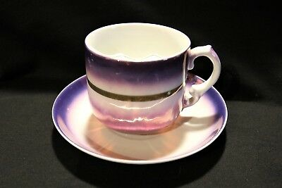 Beautiful Germany Iridescent Mustache Cup & Saucer Purple To Pink Color Look!!