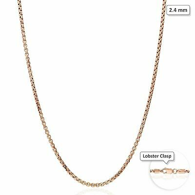 "14K Rose Gold 2.4mm High Polished Round Box Link Chain Necklace 16""-30"""