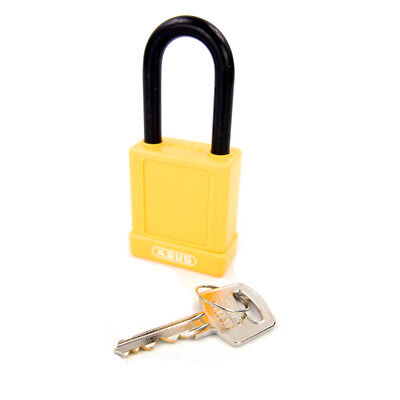 3 Pack - Condor 48JR66 Yellow Lockout Padlock LOTO Keyed Different ABUS