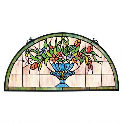 "24"" Gallery Vase Floral Tiffany-Style Stained Glass Window Panel"