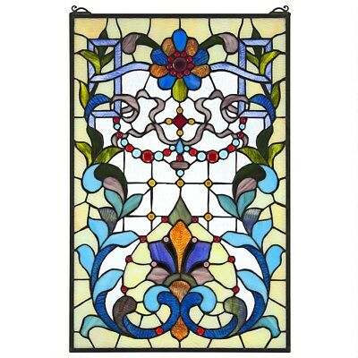 """28"""" Ornamental Beaux-Art Tiffany-Style Authentic Stained Glass Window Panel"""