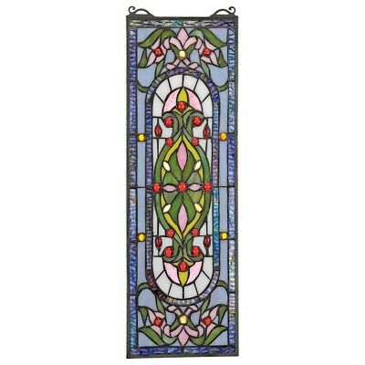 """21.5"""" x 7 Rectangle Beaux-Art Tiffany-Style Authentic Stained Glass Window Panel"""