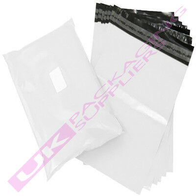 """50 x SMALL 10x14"""" WHITE PLASTIC MAILING SHIPPING PACKAGING BAGS 60mu PEEL + SEAL"""