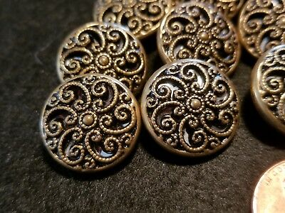 Lot Of 14 Matching Vintage/Antique Victorian Metal Filagreed Buttons
