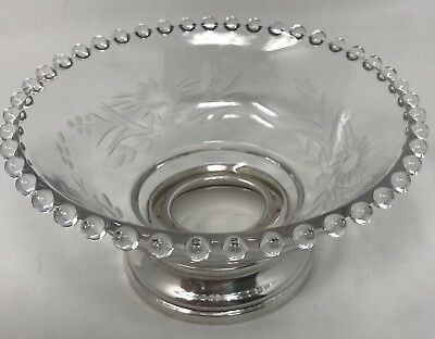 Candlewick by Imperial Glass Bowl Sterling Silver Base Floral Cutting (#18-1408)