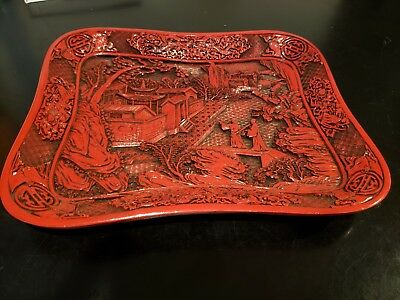 Antique Cinnabar Lacquered Tray Red