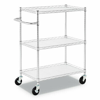 "Alera® 3-Shelf Wire Cart with Liners 34 1/2"" x 18"" x 40"" Silver 600 lbs Capacity"