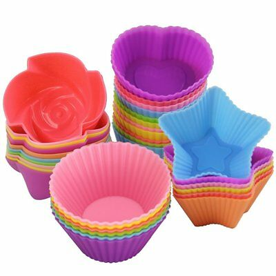 Silicone Muffin Cases Cupcake Mould Baking Reusable Round,Heart,Star,Tree,Flower