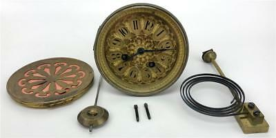 Antique French Japy Freres Mantle Clock Movement+Dial+Back+Pendulum+Chime WORKS!