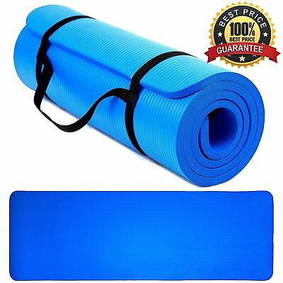 61x 185cm Yoga Mat Thick Gym Exercise Fitness Pilates Workout Mat Non Slip strap