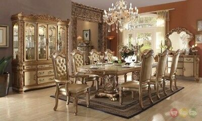 """Vendome Baroque 84""""-120""""Luxury 7pc Dining Room Set w/ Gold Carved Wood Patina"""