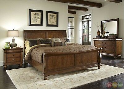 RUSTIC TRADITIONS CLASSIC Brown Cherry Sleigh Bed 4 Piece ...