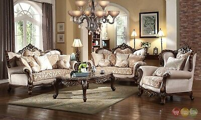 Luxury Winged Back Formal 6 pc Sofa Set With Carved Wood Frame & Accent Pillows