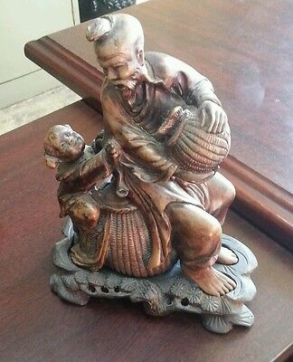 Asian Original Antique Hand Crafted Engraved Stone father and son Figurine