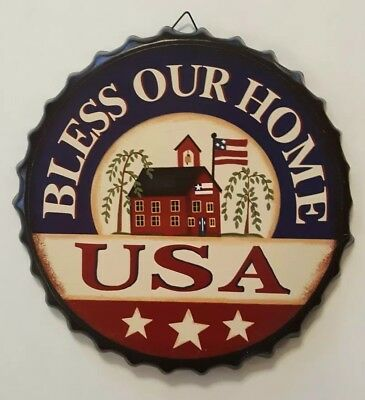 Bless Our Home Bottle Cap Tin Metal Sign America USA Home Decor New
