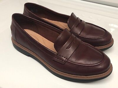 cdf6b582d47 Clarks Raisie Eletta Comfort Penny Loafers Mahogany Brown Leather 8.5 M  With Box