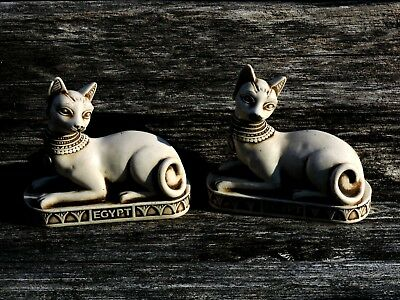 SET LARGE Vintage Bastet Egyptian Stone Statue Cat Goddess BASTET BAST Sculpture