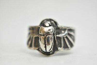 Scarab ring winged beetle Egyptian amulet  sterling silver band  Size  6.50
