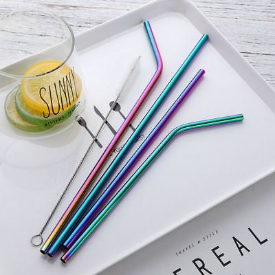 Washable Reusable Metal Straight Bend with Brush Drinking Straw Stainless Steel