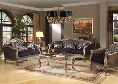 Chantelle Classic French Rococo Formal Living Room Sofa&LoveSeat Set Carved Wood