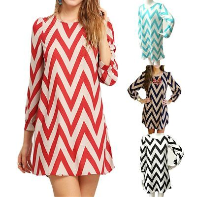 Summer Round Neck Wavy Long Dress Party Clothes Long-sleeved Skirt Printed
