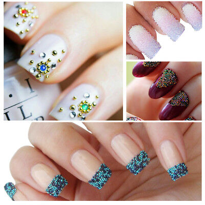 6 Colors/set Caviar Mini Balls Micro Beads Nail Art Acrylic UV 3D Decoration BIN