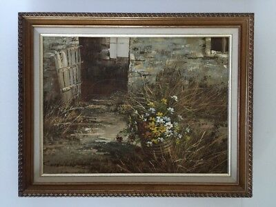 Vintage Framed Chadwick Flowers and Old House oil painting