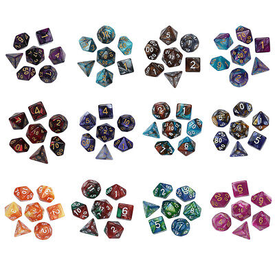 7Pcs Game Dungeons & Dragons Polyhedral D4-D20 Multi Sided Acrylic Dice Hot gse
