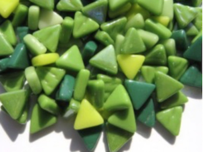 Mixed Green Glass Triangles - Mosaic Tiles Supplies Art Craft