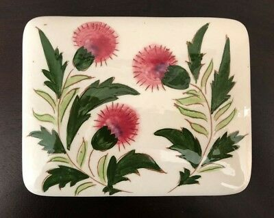 """Stangl Pottery Pink Thistle Rectangular Covered Trinket Dish 5 1/2"""" x 4 1/4"""" x 2"""