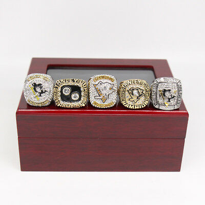 5PCS Pittsburgh Penguins Stanley Cup Championship Ring Set With Wooden Box Gift
