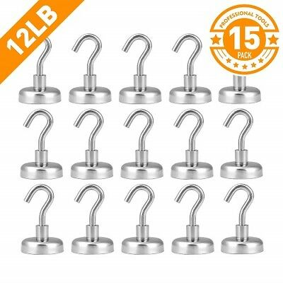 12Lb Heavy Duty Magnetic Hooks With Stickers Strong Powerful Neodymium 15 Pack