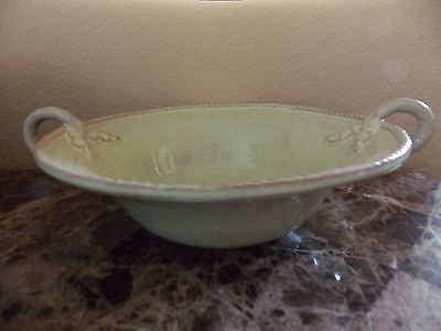 "New Vietri Bellezza Celadon 14"" Medium Handled Serving Bowl Dish"