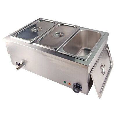 1500W Electric Bain Marie Catering Wet & Dry Heat  Food Warmer 1/3 GN Pan & Lids