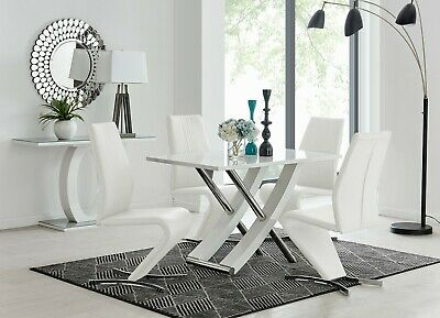 MAYFAIR White High Gloss Chrome Dining Table Set and 4 Leather Chairs Seater