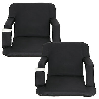 Stadium Seat Portable Reclining Bleacher Chair with Cup Holder Set of Two