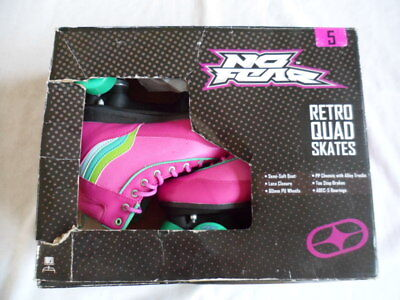 No Fear Retro Quad Skate Lace Up Wheeled Roller Shoes - Size 5