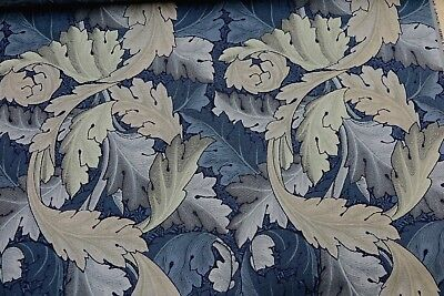 WILLIAM MORRIS CURTAIN FABRIC Acanthus Tapestry 1 MT INDIGO AND MINERAL WOVEN