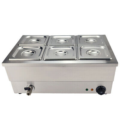 6 Pots Commercial  Bain Marie Catering Wet Well Wet Heat Electric Food Warmer