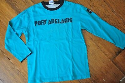 Official AFL Port Adelaide Kids Boys long sleeve quality tshirt Size 10 Excellen