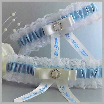 Personalised Bridal Garter. Ivory or White lace with blue trim & round diamante