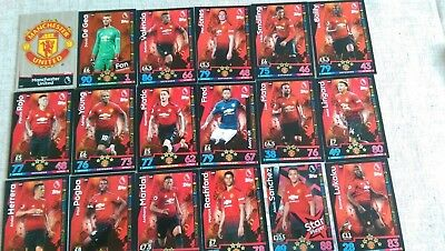 Match Attax 2018/19  Manchester United Full 18 Card Team Set + **2 Extra Cards**