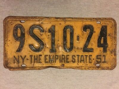 1951 New York Vehicle License Plate - Vintage, NY, Tag, 9S10-24