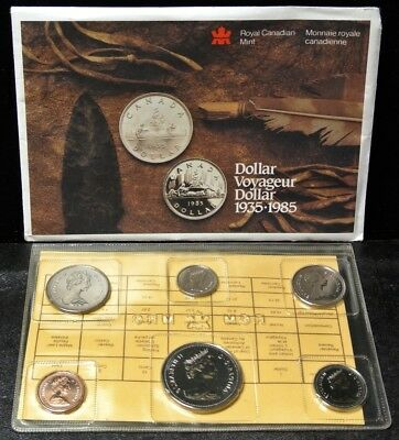 1985 CANADA 6-COIN PROOF LIKE SET - w/ EXPERIMENTAL PACKAGING -ETCHED 1 & 5 CENT